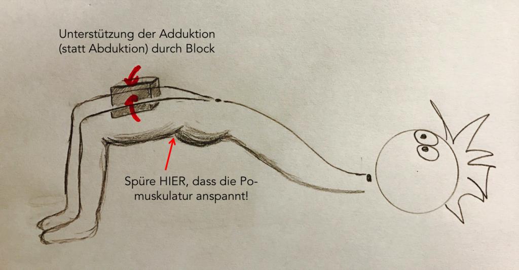 Selektives Anspannen des M. gluteus maximus (untere Fasern) in der Schulterbrücke